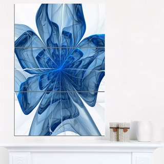 Blue Fractal Flower with Large Petals - Modern Floral Canvas Wall Art