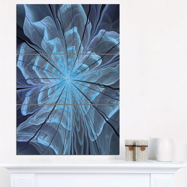 Soft Blue Fractal Flower with Large Petals - Modern Floral Canvas Wall Art