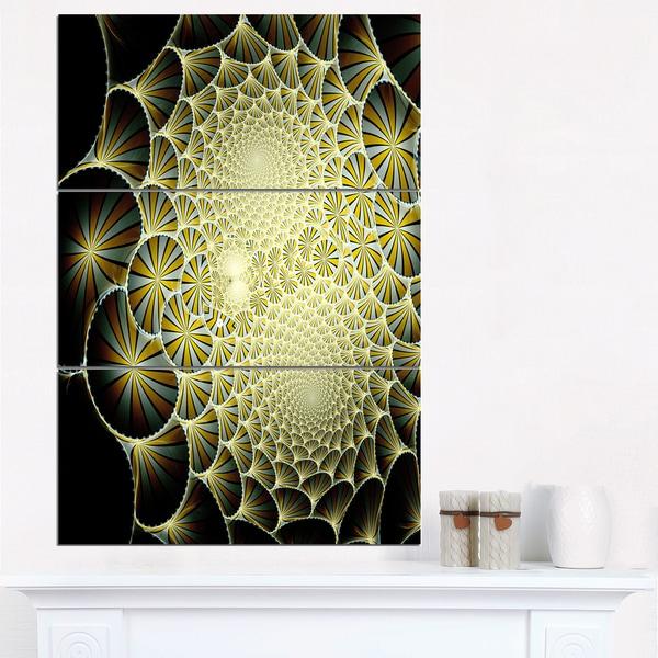 Yellow Symmetrical Unique Fractal Design - Modern Floral Canvas Wall ...