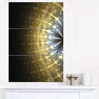 Amazing Gold Symmetrical Fractal Flower - Modern Floral Canvas Wall Art