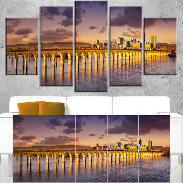 Pennsylvania Railroad Bridge Skyline - Landscape Art Canvas Print