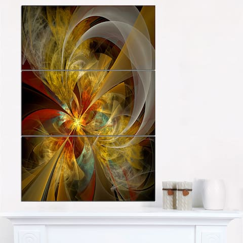 Bright Yellow Symmetrical Flower Design - Modern Floral Canvas Wall Art - Black