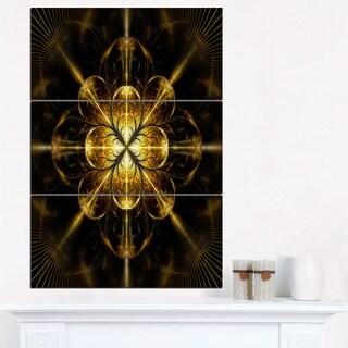 Gold Symmetrical Large Fractal Flower - Modern Floral Canvas Wall Art