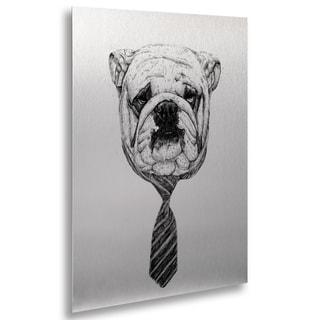 Balazs Solti 'Bulldog' Floating Brushed Aluminum Art