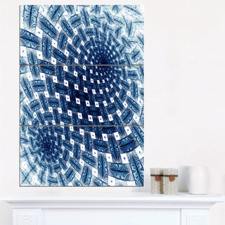 3D Shaped Blue Large Fractal Flower - Modern Floral Canvas Wall Art