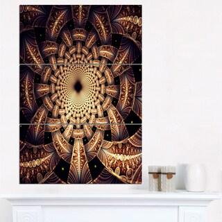 Brown Symmetrical Fractal Flower Design - Modern Floral Canvas Wall Art