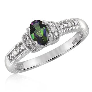 Jewelonfire Sterling Silver 1/2ct TW Mystic Topaz and Diamond Accent Ring