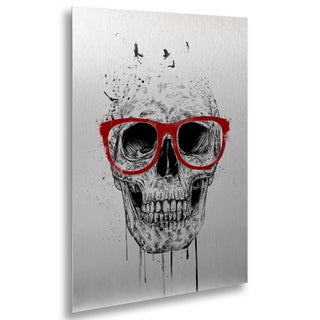 Balazs Solti 'Skull With Red Glasses' Floating Brushed Aluminum Art