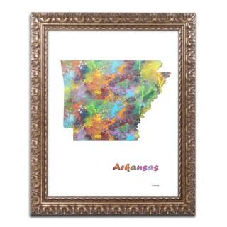 Marlene Watson 'Arkansas State Map-1' Ornate Framed Art