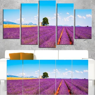Remote House and Tree in Lavender Field - Oversized Landscape Wall Art Print