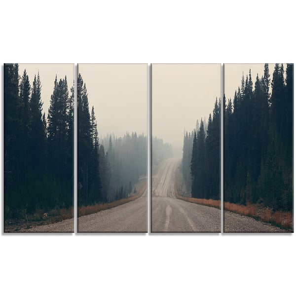Foggy Road In Forest In Banff Park Modern Seascape Canvas Artwork Print Multi Color On Sale Overstock 12304387