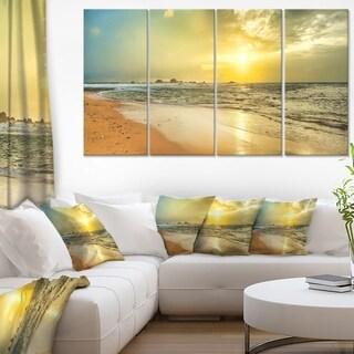 Bright Yellow Sunset Beach Panorama - Modern Seascape Canvas Artwork