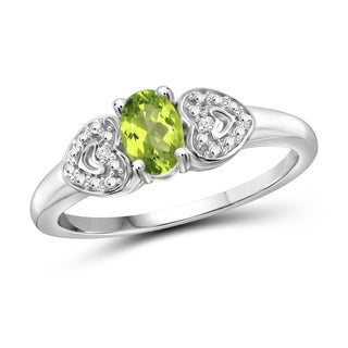 Jewelonfire Sterling Silver 1/2ct TW Peridot and Diamond Accent Ring
