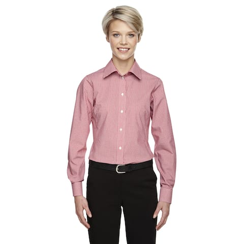 Crown Women's Collection Gingham Check Red Shirt