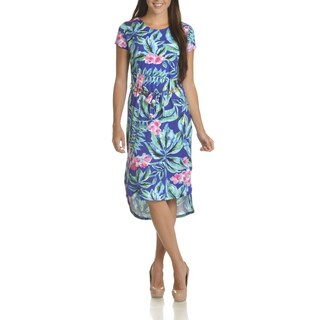 Nina Leonard Women's Multicolored Polyester Floral Print Chain Belted Dress
