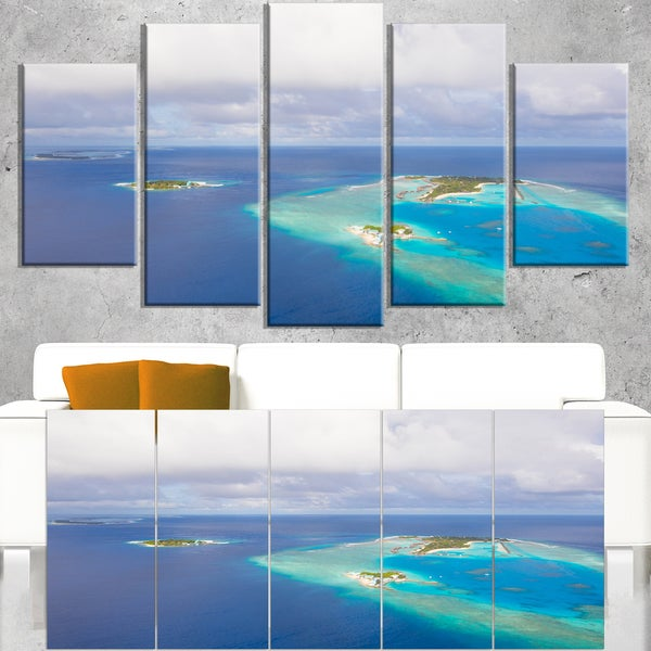 Aerial View of Maldives Island - Modern Seascape Canvas Artwork