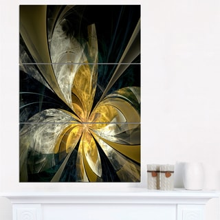 Symmetrical White Gold Fractal Flower - Modern Floral Canvas Wall Art
