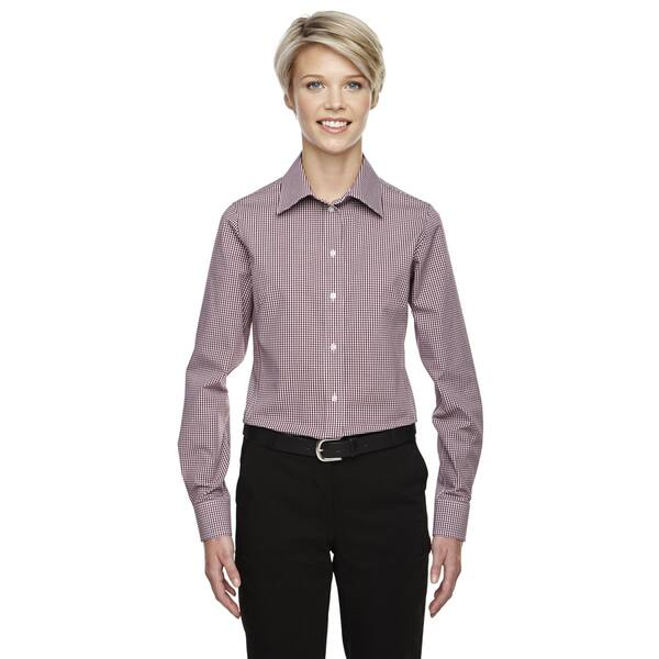 356b80e470e0e Shop Crown Women s Collection Gingham Check Burgundy Shirt - Free ...