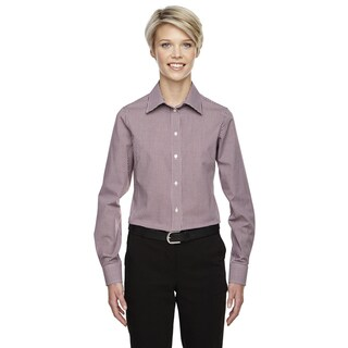 Crown Women's Collection Gingham Check Burgundy Shirt