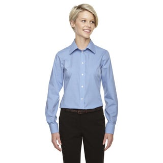 Crown Women's Collection Gingham Check French Blue Shirt