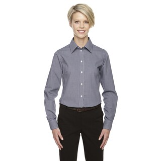 Crown Women's Collection Gingham Check Navy Shirt