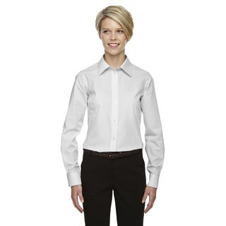 Crown Women's Collection Gingham Check Silver Shirt