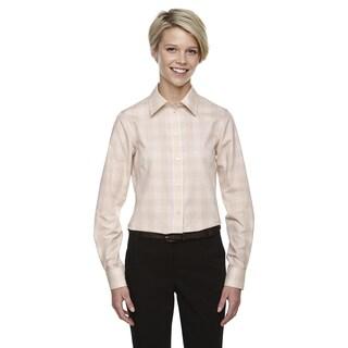 Crown Women's Collection Glen Plaid Stone/Light Stone/White Shirt
