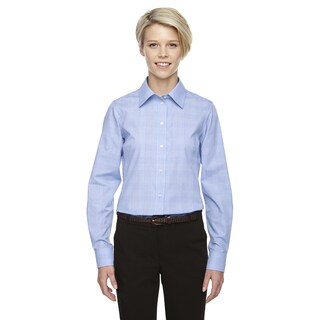 Crown Women's Collection Glen Plaid White/Light Blue Shirt