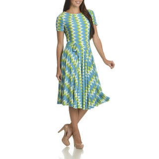 Women's Nina Leonard Abstract Print Belted Fit and Flare Dress