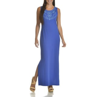 Nina Leonard Women's Embroidered Neckline Maxi Dress