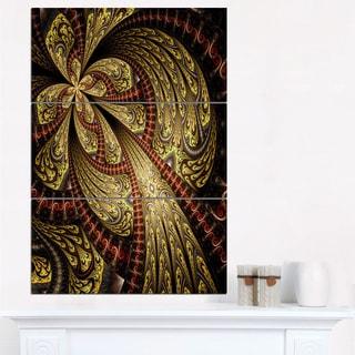 Symmetrical Brown Red Fractal Flower - Modern Floral Canvas Wall Art