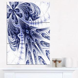Symmetrical Dark Blue Fractal Flower - Modern Floral Canvas Wall Art