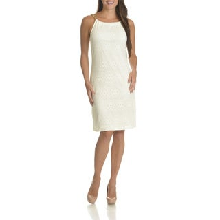 Nina Leonard Women's Chain Link Straps Crochet Shift Dress