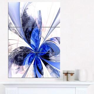 Symmetrical Bright Blue Fractal Flower - Floral Canvas Artwork Print
