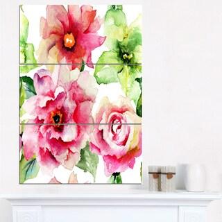 Roses and Gerber Flowers Watercolor - Floral Canvas Artwork Print