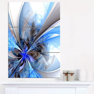 Symmetrical Large Blue Fractal Flower - Floral Canvas Artwork Print