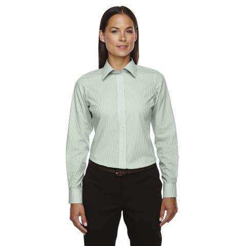 Crown Collection Women's Banker Dress Stripe Dill Shirt