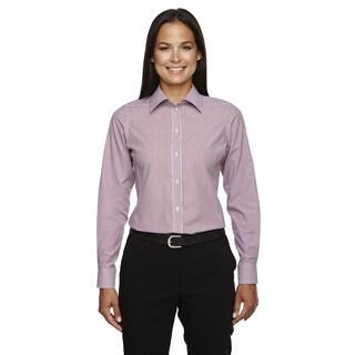 Crown Collection Women's Banker Dress Stripe Burgundy Shirt