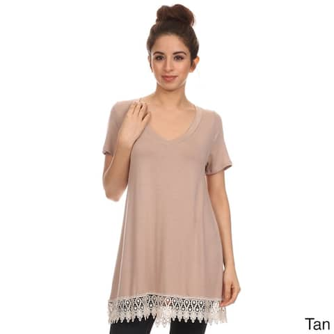 Women's Crochet Lace Trim Top