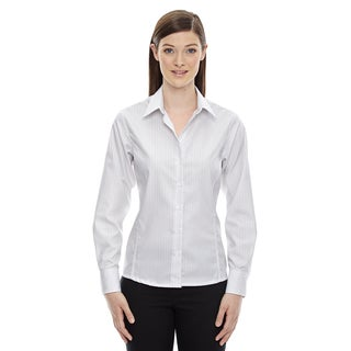 Boardwalk Wrinkle-Free Women's Two-Ply 80'S Cotton Striped Tape White 701 Shirt