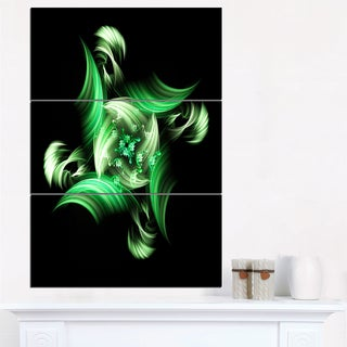 Rotation of Small World Green in Black - Floral Canvas Artwork Print