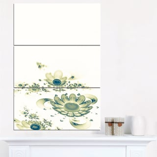 Ideal Abstract Blue Fractal Flowers - Floral Canvas Artwork Print