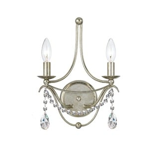 Crystorama Metro Collection 2-light Antique Silver Wall Sconce