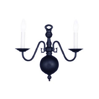Crystorama Traditional 2-light Black Wall Sconce