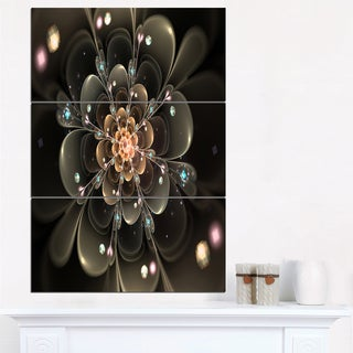 Perfect Shiny Fractal Flower in Dark Brown - Floral Canvas Artwork Print