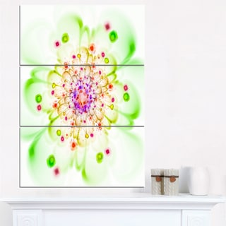 Perfect Glowing Fractal Flower in Green - Floral Canvas Artwork Print