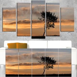 Lonely Tree Silhouette Rightwards - Landscape Art Print Canvas