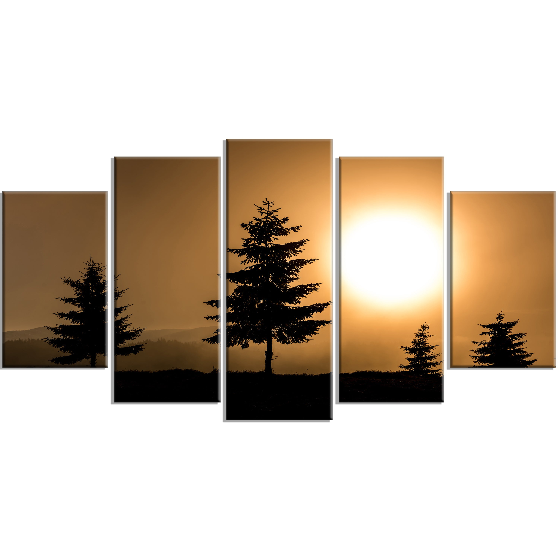 Bright Sunrise Tree Silhouette Landscape Art Print Canvas Multi Color On Sale Overstock 12304631