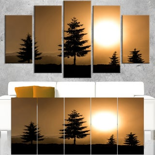 Bright Sunrise Tree Silhouette - Landscape Art Print Canvas