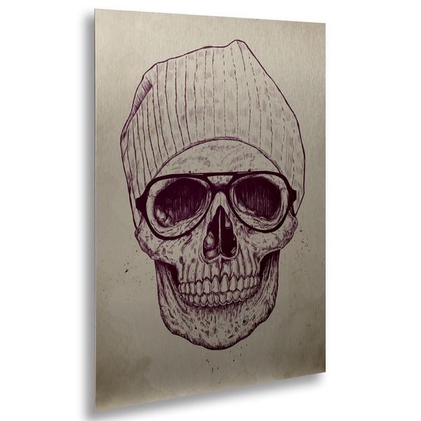 Balazs Solti 'Cool Skull' Floating Brushed Aluminum Art